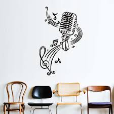 high quality microphone wall art promotion shop for high quality microphone and music notes wall stickers art murals wall decals for kids living room home decor vinyl stickers muraux poster