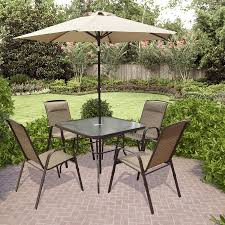 Patio Table Sets Shop Corliving 6 Brown Metal Frame Patio Dining Set At Lowes
