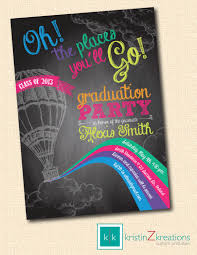 oh the places youll go color chalkboard graduation invite custom