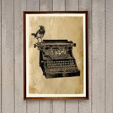 retro home decor old typewriter poster vintage print ak631 by