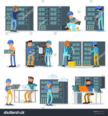 data center working people set engineers stock vector 621921155