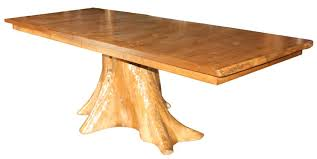 rustic pine log tree stump extension dining table