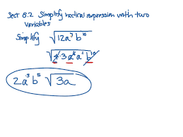 showme simplify radicals with mixed variables