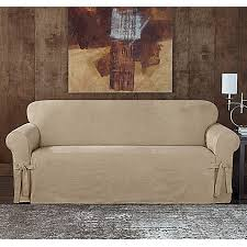 grey twill sofa slipcover sure fit designer sueded twill sofa slipcover bed bath beyond