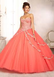 coral quince dress multi colored beaded bodice on a tulle skirt with a sweep