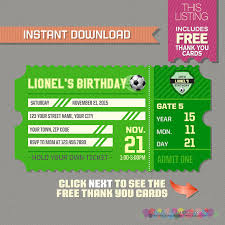 soccer ticket invitation with free thank you card soccer