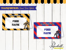 transformers food tent labels for transformers birthday party