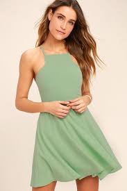 cute sage green dress skater dress fit and flare dress 54 00