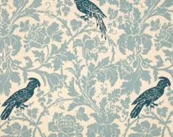 Bird Print Curtain Fabric Blue Bird Fabric Etsy