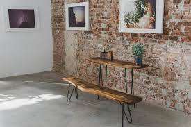 Rustic Wooden Bench Modern Live Edge Wood Bench Sevensmith