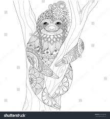 sloth zentangle design coloring book stock vector 367430078