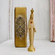 vintage our lady of fatima miniature statue virgin mary figurine