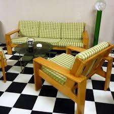 canapé en pin canapé et deux fauteuils en pin scandinave vintage édité par