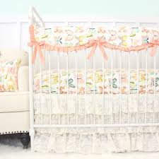 Nursery Bedding Sets Uk by Mint Peach Coral And Gray Arrows Ruffled Crib Bedding Set Toddler