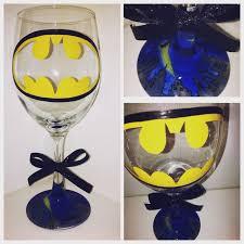 batman hand painted wine glass with gotham city bottom marvel