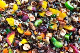 thanksgiving vegetarian rice dressing with roasted hazelnuts