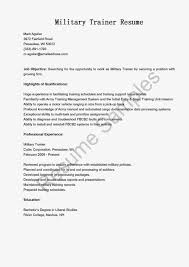 Sample Resume Objectives For Trainers by Military Trainer Sample Resume