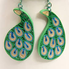 peacock paisley niobium earrings modern honeysquilling