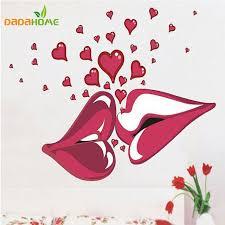 baise dans la chambre grand lèvres baiser vinyle stickers muraux mur décorations