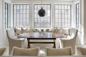 Window Seat Dining Banquette With Oval X Based Dining Table - Banquette dining room furniture