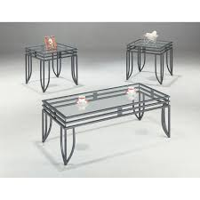 coaster furniture glass top 3 piece matrix coffee table set
