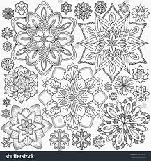 line flowers coloring page monochrome image stock vector 354175184