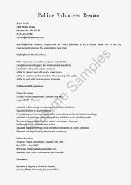 Police Academy Resume Police Volunteer Sample Resume
