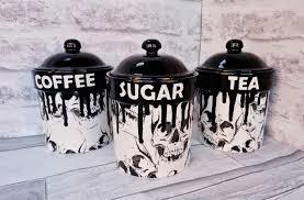 skull storage canisters tea coffee canister sugar jars