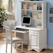 Table With Shelves Furniture Rectangle White Wooden Floating Computer Table With