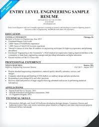 sample resume for entry level entry level engineering sample