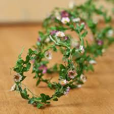mini purple and white flowers roping garland garlands floral