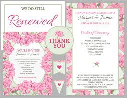 vow renewal program templates free vow renewal invitation suite pink roses with green