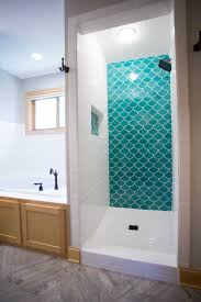 Bathrooms Designs Blue Moroccan Fish Scale Tile Complimented By White Subway Tile