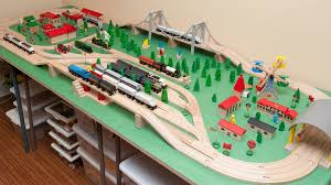 fold up train table wooden railway guide