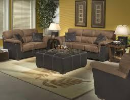 brown microfiber stylish sofa u0026 loveseat set w dark bycast base