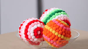 colorful pom pom ornaments martha stewart