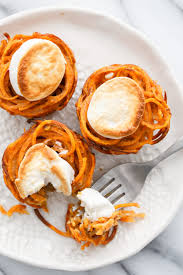 mini sweet potato casserole nests and olive