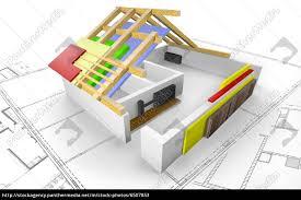 Haus Grundriss Haus Grundriss Mit Dachkonstruktion 3d Lizenzfreies Bild