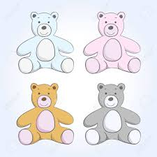 vector soft toy bear sketch set on a blue background royalty free
