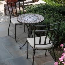 Iron Table And Chairs Patio Amazon Com Alfresco Home Tremiti Round Mosaic Bistro Set 24