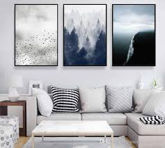 Nordic Home Decor Minimalist 3 Paintings Of Birds Woods Sea Nordic Home Decor Wall