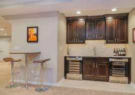basement kitchenette small shelves below uppers are perfect for