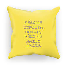 Besame Ahora Yellow Decorative Pillow Zea Design Gifts