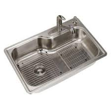 Top Mounted Kitchen Sinks by Glacier Bay All In One Top Mount Stainless Steel 33x22x8 4 Hole