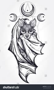 ornate nocturnal bat moons design tattoo stock vector 311292128