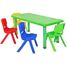 plastic table with chairs amazon com best choice products multicolored kids plastic table and