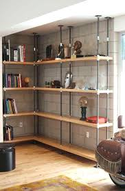 Industrial Bookcases Bookcase Wood And Metal Bookcase Reclaimed Wood And Metal