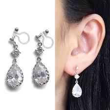 bridal clip on earrings bridal clip earrings cubic zirconia clip on earrings teardrop