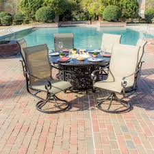 Patio Dining Set With Fire Pit - 34 fire pit dining set acadia 7 piece sling patio fire pit dining