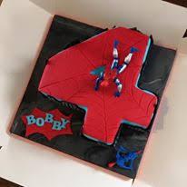 number 4 spiderman cake